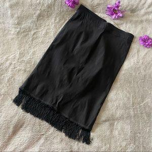 Sahara Black Straight Tassel Fringe Women Skirt